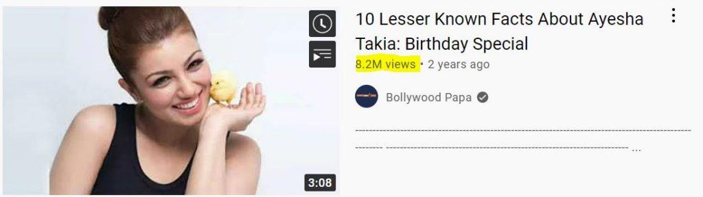 Aysa takia Youtube views